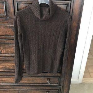 JCREW brown cable merino wool blend turtleneck